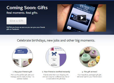Facebook online gifts