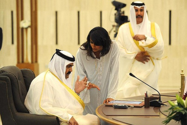 Qatar's Emir Sheikh Hamad Bin Khalifa Al Thani and his daughter and chief of staff Sheikha (Princess) Hind Bint Hamad Al Thani seen prior to the 'Dialogue For Stability' Summit in Damascus, Syria on September 4, 2008.